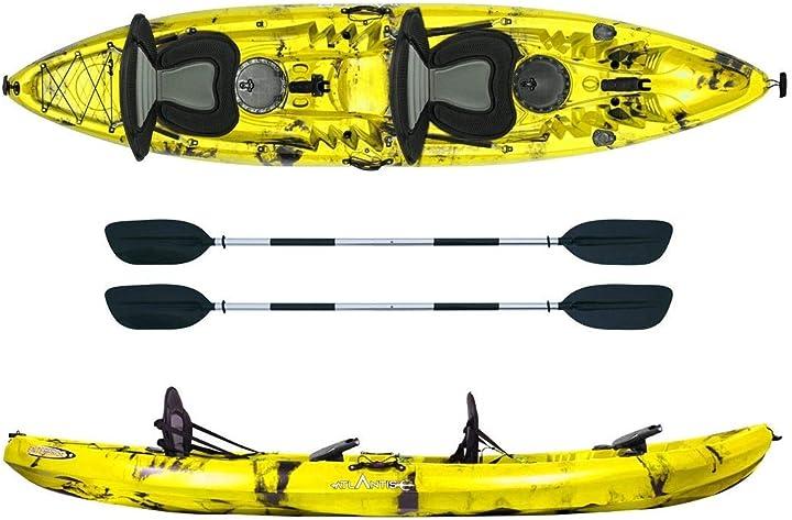 Kayak-canoa 2 posti enterprise gialla cm 370-2 gavoni - 2 seggiolino - 2 pagaie - 2 portacanne - atlantis B08V948SLG