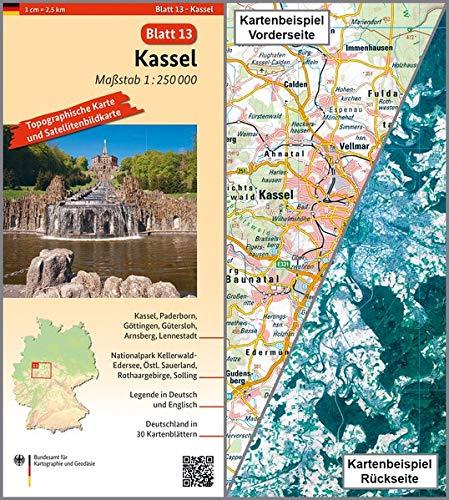 Kassel: Umgebungskarte mit Satellitenbild 1:250.000 (TK250 / Topographische und Satellitenbildkarte)