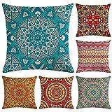 Hodeacc - 6 Fundas de Almohada de Mandala Modernas, Fundas de Almohada Bohemia, Fundas de Almohada Hippie para sofá, sofá Cama, Silla, 18 x 18 Pulgadas, Solo Funda