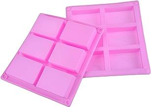 6 Cavità Stampo di Sapone in Silicone Rettangolare per Torta, Pane, Biscotti, Cioccolato, 2 Pezzi (Rosa)
