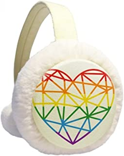Painting Heart LGBT Rainbow Winter Earmuffs Ear Warmers Faux Fur Foldable Plush Outdoor Gift