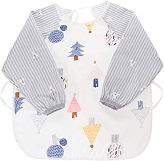 TOYANDONA Baby Sleeved Bib Waterproof Baby Feeding Smock Cartoon Toddler Bib Aprons for Kids Feeding Painting Christmas Cr...