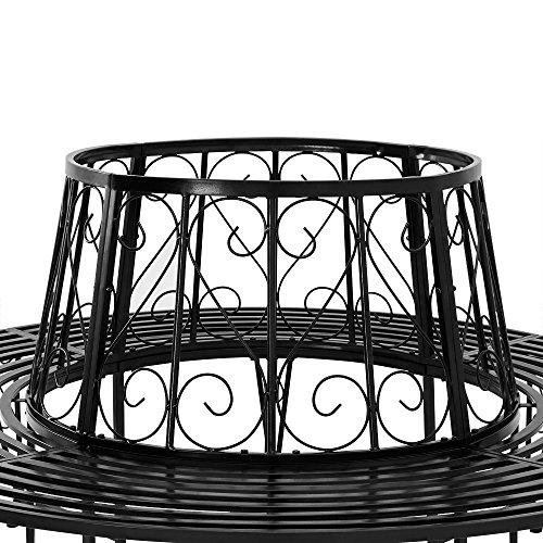Baumbank 360° Metall, Ø 160cm, pulverbeschichtet, geschwungene Beine Gartenbank Rundbank - 4