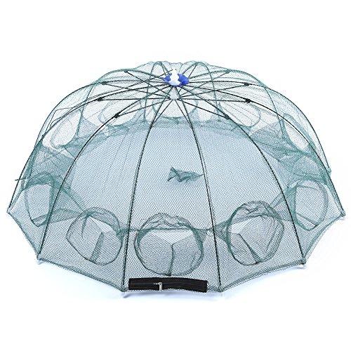 DAMAIFENG Visnet Draagbare Opvouwbare Vissen Landing Net Paraplu Vorm Nylon Lichtgewicht Net 12 kant Prey Garnalen Vis