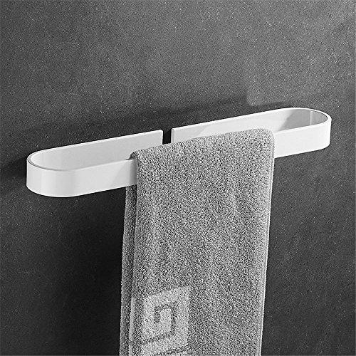 Cuarto de baño toallero blanco pintado baño de un solo poste barra de toalla colgante sin perforaciones colgando de la toalla varilla de colgar 40cm