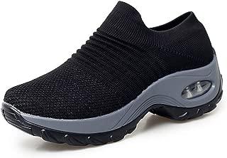 JINGJING Women's Slip-On Walking Shoes Non-Slip Nursing Shoes Casual Fashion Platform Sneakers Comfortable Loafers Black Size 5.4