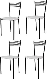 Tommychairs - Set 4 sillas Elegance para Cocina, Comedor, Bar y Restaurante, Estructura en Acero Pintado Negro y Asiento tapizado en Polipiel Color Blanco