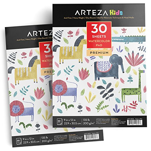 Arteza 9X12' Kids Watercolor Pad, Pack of 2, 60 Sheets (135lb/200gsm), Glue Bound Watercolor Paper, 30 Sheets Each, Durable Acid Free Watercolor Paper, Ideal for Watercolor Techniques and Mixed Media
