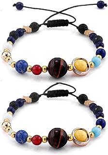 ZEKUI 2Pcs Solar System Lava Bracelete Out Space Star Moon Bracelet for Women
