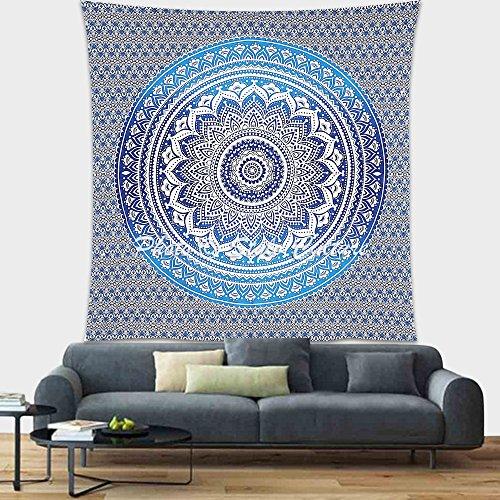Stylo Culture Mandala de Bohème Indienne Tenture Murale Tenture Murale Ombre Floral Bleu Décoration de Plage Suspendue Jet de Mandala Double Imprimé