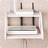 LULUDP Caja de Almacenamiento del enrutador Carga de la Pared de la Caja de Cable Montar Router WiFi Plataforma Enchufe de alimentación Estante Estante Colgante de Set-Top Plataforma Organizador Caja