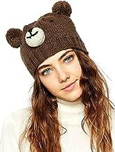 Clothink Women Brown Cute Bear Design Pom Pom Bobble Beanie Hat