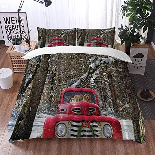 Yuxiang Bedding Sets Duvet Cover Set, Golden Retrievers in Christmas Truck,3-Piece Comforter Cover Set 240 x 260 cm +2 Pillowcases 50 * 80cm