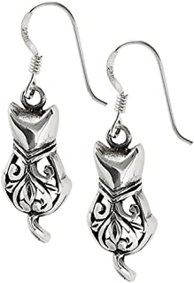 Sitting Cat Filigree Animal .925 Sterling Silver Victorian Dangle Cutout Earrings