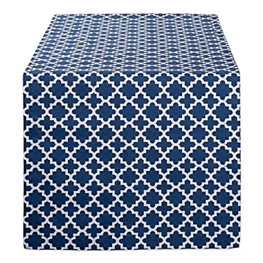 DII Lattice Cotton Table Runner for Dining Room, Foyer Table, Summer Parties and Everyday Use - 14x72, Nautical Blue and White