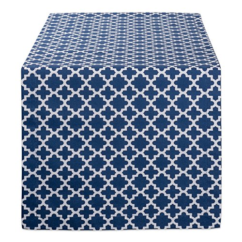 DII CAMZ10473 Lattice Cotton Table Runner for Dining Room, Foyer Table, Summer Parties and Everyday Use - 14x72, Nautical Blue and White