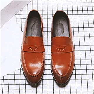Oxford Men's Prince Classic Oxford Shoes Modern One Pedal Daily Non-slip Breathable Comfortable Walking Shoes Wearable Casual Derby Saddle Shoes (Color : Brown, Size : 44)