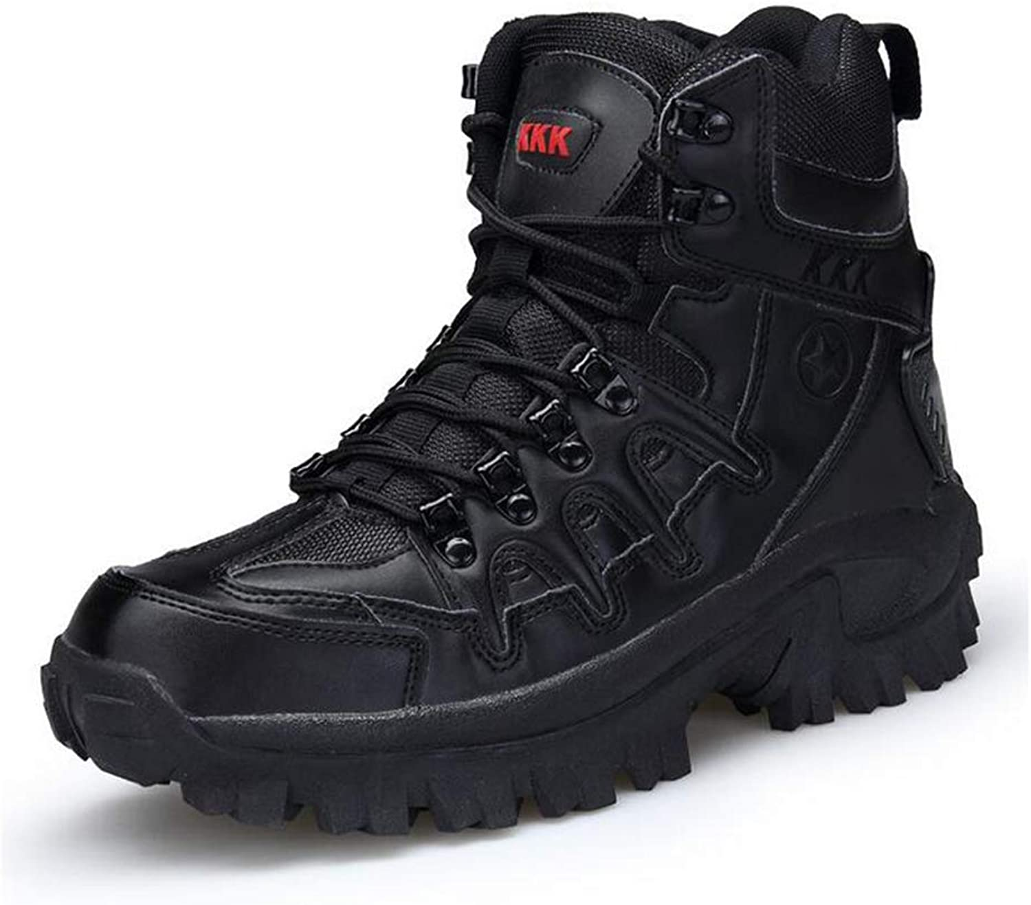 Y-H Men's Casual shoes, Hiking shoes, Fall winter Comfort Sneakers, High-top Military Boots,Tooling Boots,Slip-Ons Wearable Training shoes (color   Black, Size   45)