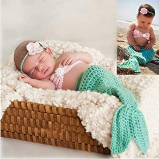 M&G House Newborn Photography   Baby Props Outfit   Photo Costume   Girls Handmade Crochet Mermaid Set (Headband Bra Tail)