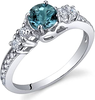 Peora Enchanting 0.50 Carats London Blue Topaz Ring in Sterling Silver Sizes 5 to 9