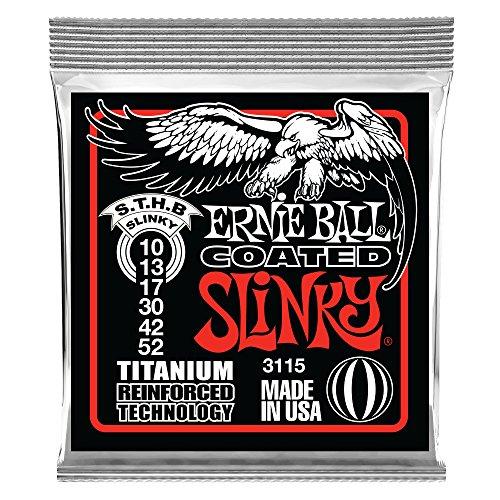 Cordes pour guitare électrique Ernie Ball Skinny Top/Slinky Coated Titanium RPS - Jauge 10-52