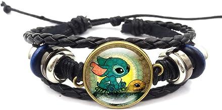 Lilo Stitch Bracelet Stitch and Turtle Beaded Hand Woven Leather Bracelet Braided Punk Chain Cuff
