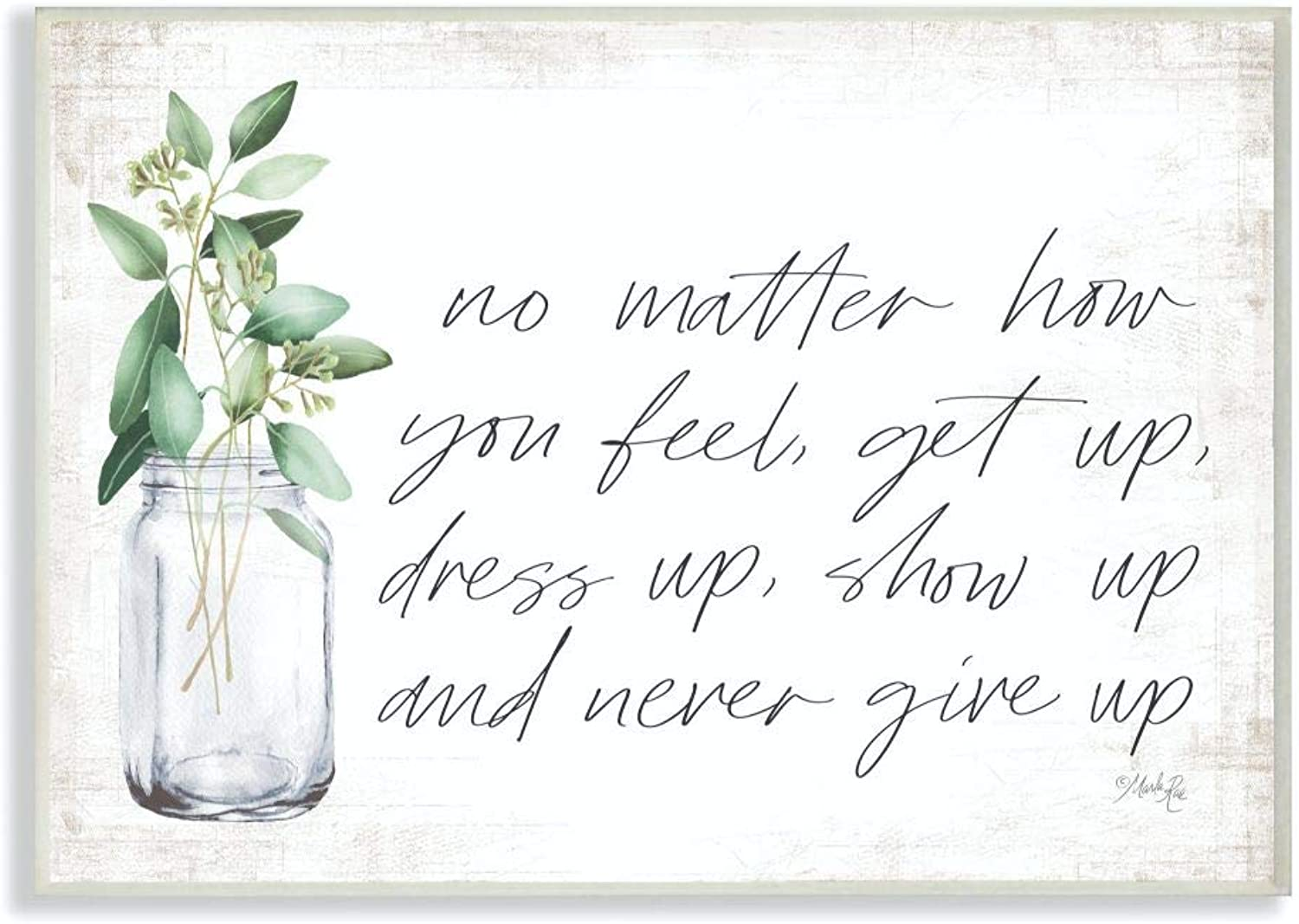 The Stupell Home Decor Collection rwp-187_wd_12x18 No Matter How You Feel Never Give Up Inspirational Plants in Mason Jar Wall Plaque Art, 12 x 18