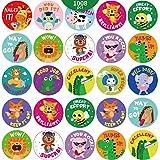 1008 Pezzi Adesivi Ricompensa Animali Premio Studenti Adorabili Adesivi Rotondi Insegnanti Scuola Animali Etichette Incoraggiamento Adesivi Motivazionali 16 Disegni Aula, Adesivi per Vasino