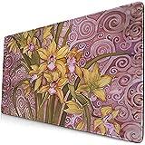 Gaming Extended Mouse Pads Bunte Moderne Schwarze Klimt Blumen Orihidei Gemälde Batik Brown Silk Abstract 30X80 cm