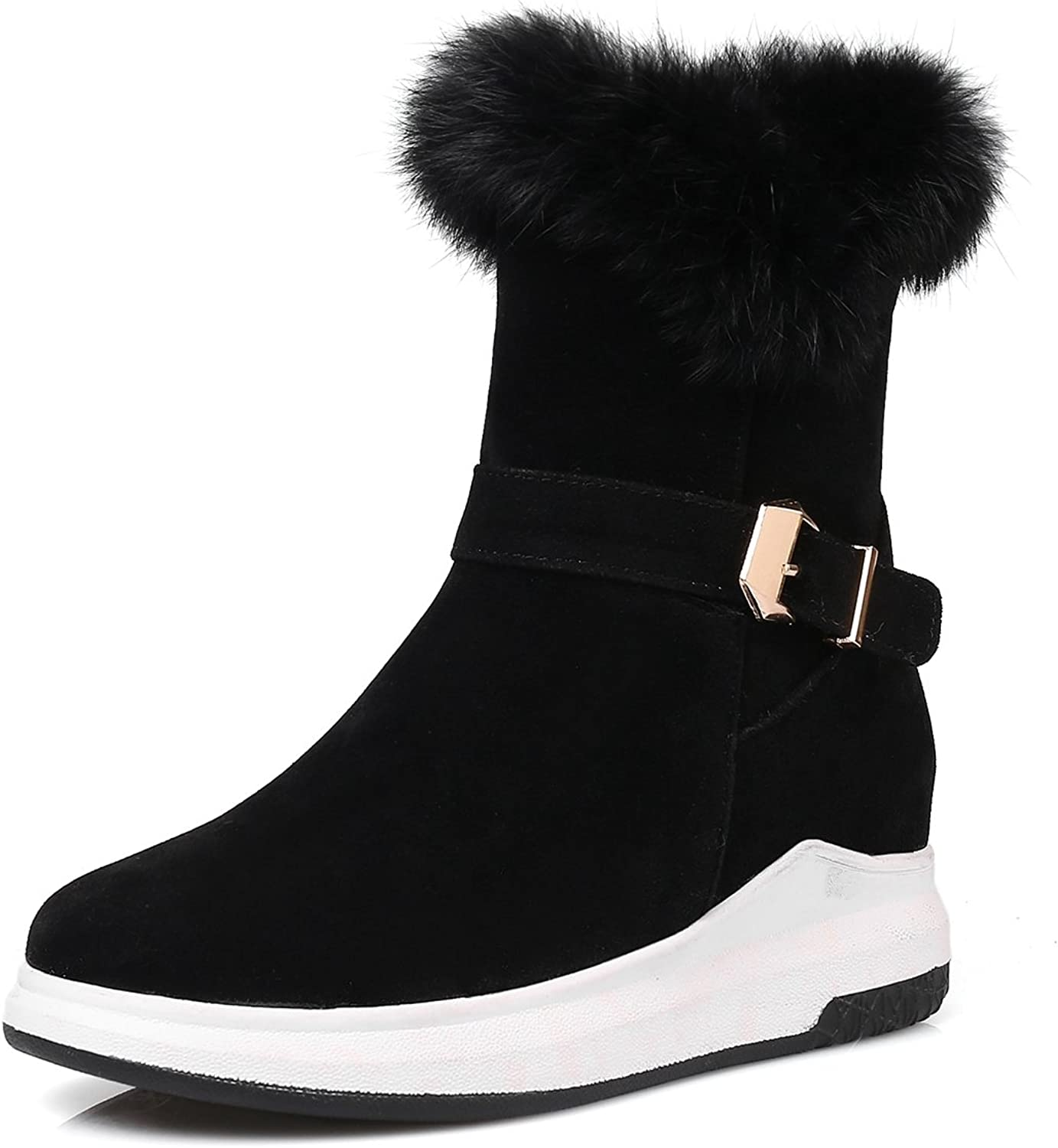 DoraTasia Women's Buckle Strap Round Toe Faux Fur Suede Nubuck Hidden High Wedge Ankle Snow Boots