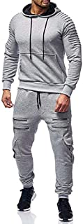 Men's Tracksuit Sale,Casual Fashion Comfy Print Full Zip Sweatshirt Hooded Top Pants Sets Sports Suit Activewear