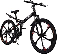 26 inch Adults Folding Bikes High-Carbon Steel Mountain Bike Outdoor Adventures Wasteland Exercise Road Bikes with 21 Spee...