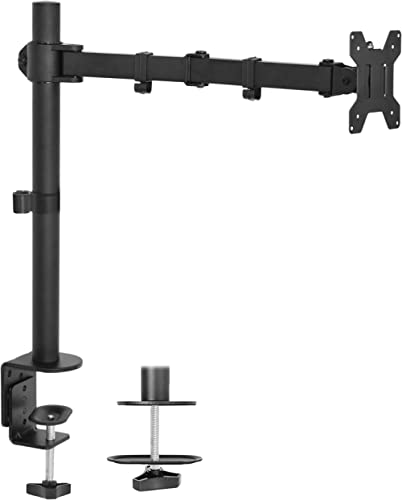 "VIVO Single LCD Monitor Desk Mount Stand Fully Adjustable/Tilt/Articulating for 1 Screen 13"" to 27"" (STAND-V001)"