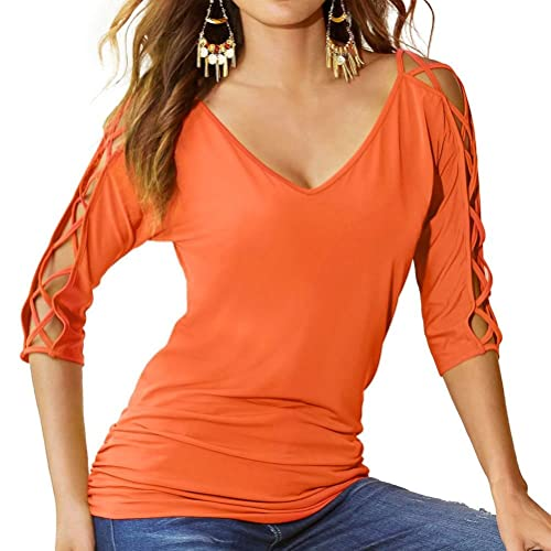 01c5bac01fa1b ZJP Women Criss Cross Cut Out 3 4 Sleeve V Neck Solid Color Tops Blouse