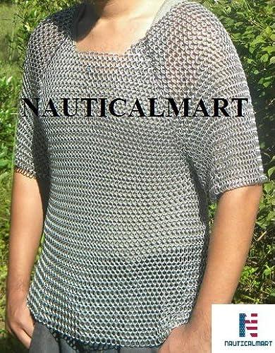 NAUTICALMART chaînemail Aluminium Half Sleeve Shirt Medieval Butted chaînemail - Chest 46''