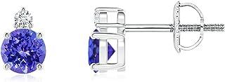 Basket-Set Round Tanzanite Stud Earrings with Diamond (4mm Tanzanite)