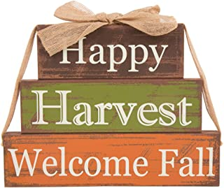 Glitzhome Wooden Signs with Sayings Happy Harvest Welcome Fall Farmhouse Wooden Block Set 11.81 x 9 Inches Wood Block Decor Fall Harvest Decor
