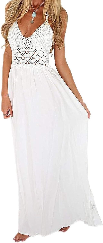 Lroveb Women's Spaghetti Strap Dresses Summer V-Neck Lace Dress Stitching Chiffon Sexy Elegant Backless Dress White