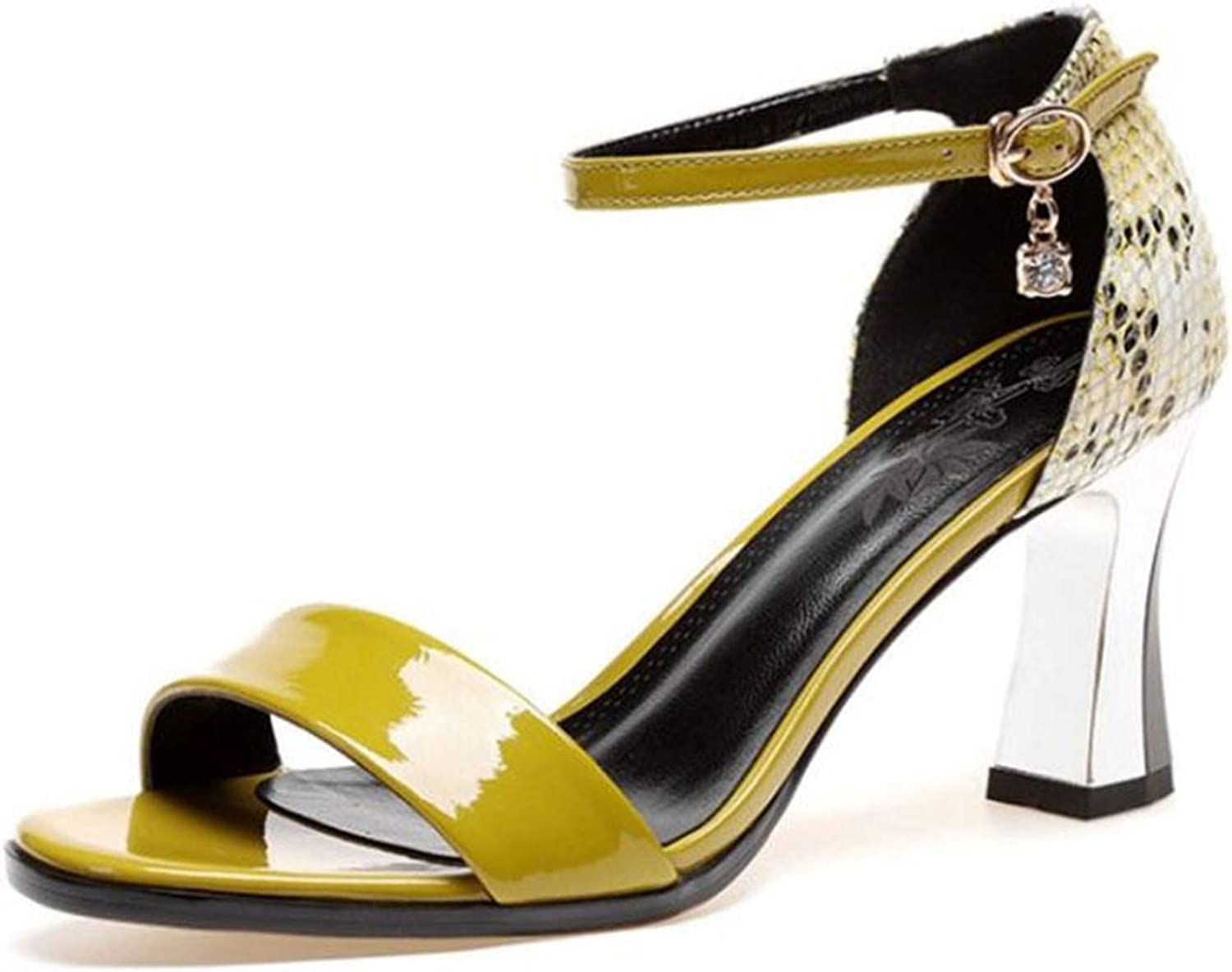 bluee-shore Women Real Genuine Leather High Heel Sandals Ankle Strap Open Toe Thick Heel Sandals shoes