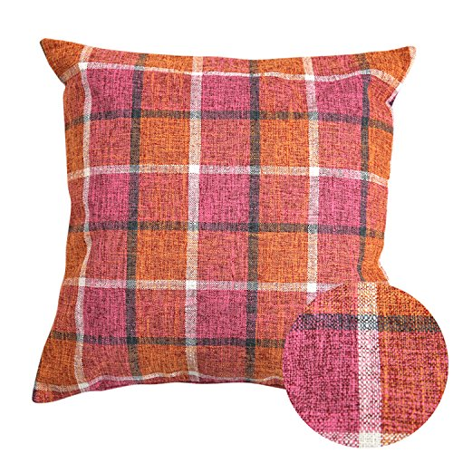Deconovo Decorative Pillow Cover Plaid Christmas Pillow Covers Faux Linen Texture Pillow Case Cushion Cover with Invisible Zipple for Chair 18 x 18 Inch Orange and Pink