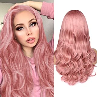HANNE Cherry Pink Long Wavy Wig Side Part Full Wig Heat Resistant Synthetic Hair Wigs for Women (Cherry Pink)
