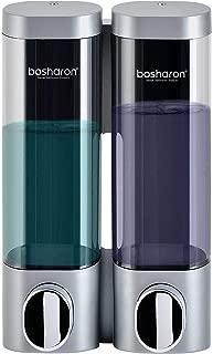 Bosharon Wall Mounted Manual Soap Dispenser for Bathroom, Kitchen, Hotels, Restaurants. Shower Soap Dispenser 300 ML (Silver 2 Chambers)