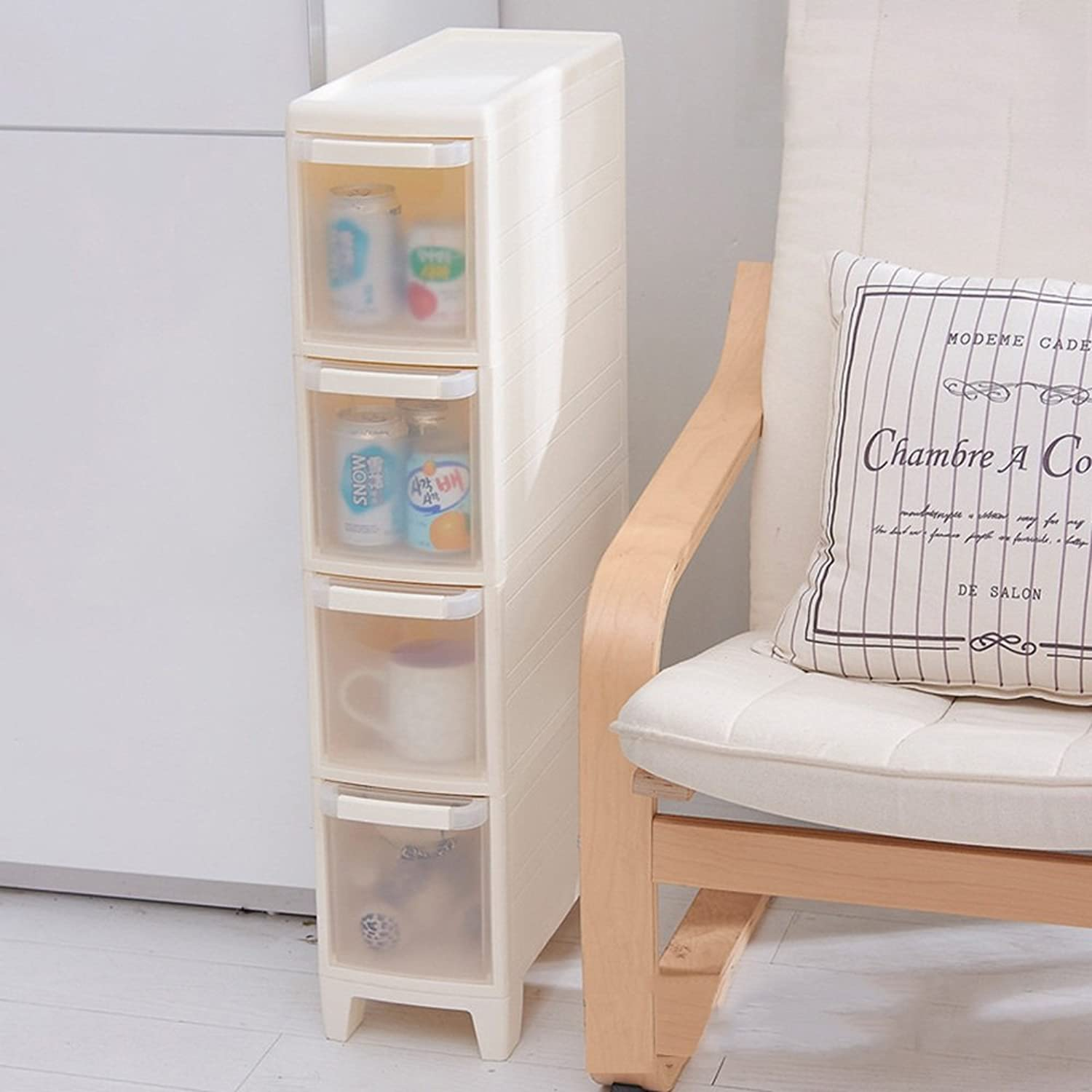 Gap Drawer Type Storage Cabinet,Narrow Storage Cabinet with Wheel, Multilayer Plastic Bathroom Kitchen Rack -by TIANTA