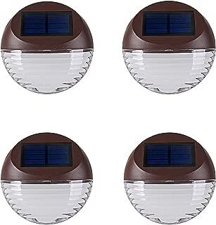 Solar Deck Lighting Wall Lights - 4 Pack Outdoor Wireless Solar Dock Step Road Marker Warm Light for Garden Path Stair Wall Driveway Lighting