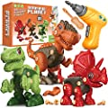 Fundia Toys for 3 4 5 6 7 8 Year Old Boys, Dinosaur Toys for Kids 3-5 5-7, Take Apart Toys Stem Construction Building Toys Kids Toys with Electric Drill, Birthday Gifts for Boys and Girls by xiliyang