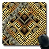 Ahawoso Mousepads for Computers Greek Gold Modern Meander Abstract Black Versace Greece Zigzag Golden Luxury Design Stripe Oblong Shape 7.9 x 9.5 Inches Non-Slip Oblong Gaming Mouse Pad