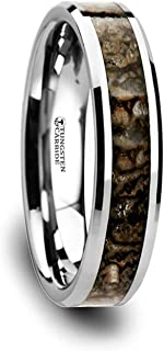 Thorsten Ordovician | Tungsten Rings for Men | Tungsten | Comfort Fit | Wedding Ring Band with Dinosaur Bone Inlay and Polished Beveled Edges - 8mm