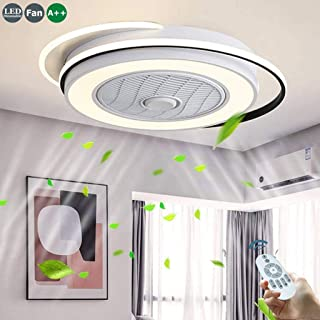 Invisible Ventilador De Techo 55W Luz De Techo LED Silencioso Iluminación Moderna Candelabros Techo Con Luces Mando A Distancia Ventilador Plafones Salón Dormitorio Habitación Para Niños Lámparas