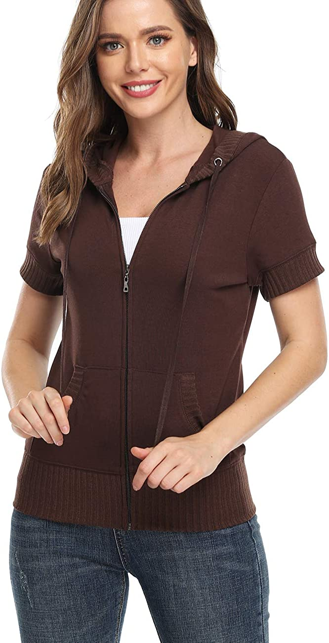 MISS MOLY Women's Short Sleeve Hoodie Fi Slim Cotton 5 popular Zip Up Max 86% OFF Full