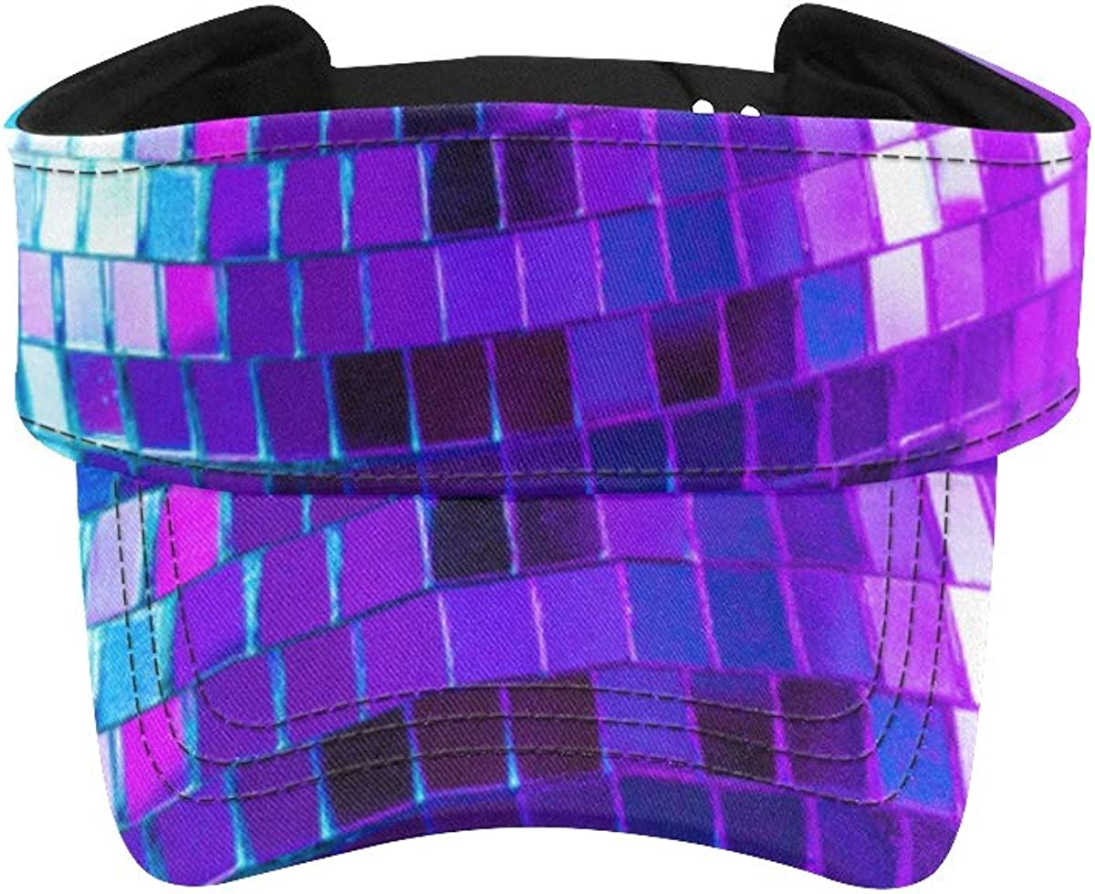 Sports Visor Hat Glittery Mirror Disco Ball On Colorful Hat for Running Hat Running Men Adjustable Athletic Sportswear Runing Outdoor Hat Cap for Men Women
